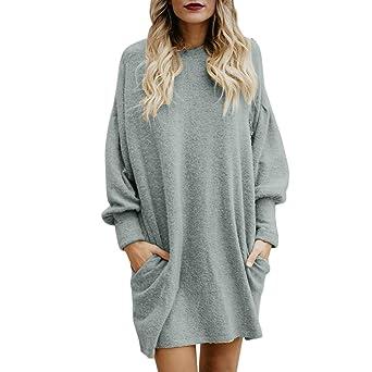 Rovinci☆ Sudadera para Mujer Moda Color sólido Cuello en O Bolsillo Suéter Largo Manga Larga Casual Loose Pullover Outwear: Amazon.es: Ropa y accesorios