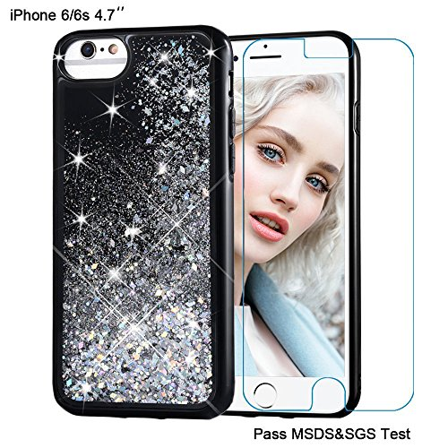 Maxdara iPhone 6 Case, iPhone 6s Case Glitter Liquid Sparkle Protective Bumper Case Floating Bling Quicksand Pretty Fashion Design for Girls Women Children for iPhone 6/6s (Silver)
