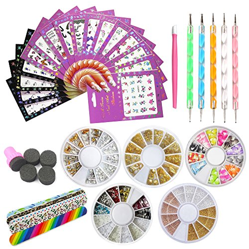 ation Manicure Pedicure Tool Set Kit 16Pcs Nail Stickers, 5 Boxes Nail Beads Rhinestones Stone Gold Metal Studs,5 Nail File Sticks,5 Nail Dotting Pen,Nail Stamping Sponge Pusher ()