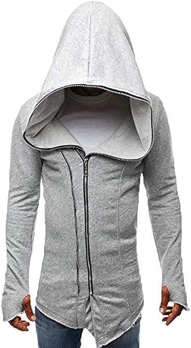 Assassin S Creed Cape Coat Sudadera Chaqueta Hombre Manga Larga Costura Moda Completi Sudadera con Capucha Tops Business Manga Corta Casual Camisa De Manga Larga (Color : Grau, Size : L): Amazon.es:
