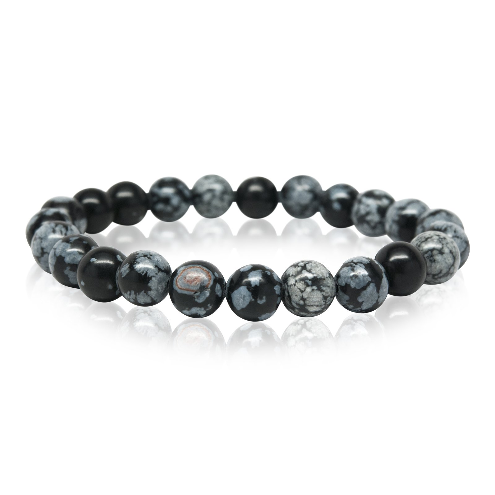 Orti Jewelry Wrist Beads Semiprecious Stone Bracelet - Real 8mm Snowflake Obsidian Gemstones - for Chakra Healing and Balancing, fits Men and Women 7 inch - Adds Boho Charm to Any Outfit, by