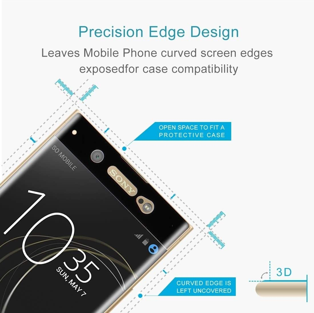 Color : Black Screen Protector Film 25 PCS for Sony Xperia XA1 Ultra 0.33mm 9H Surface Hardness 3D Curved Full Screen Tempered Glass Screen Protector Black Tempered Glass Film