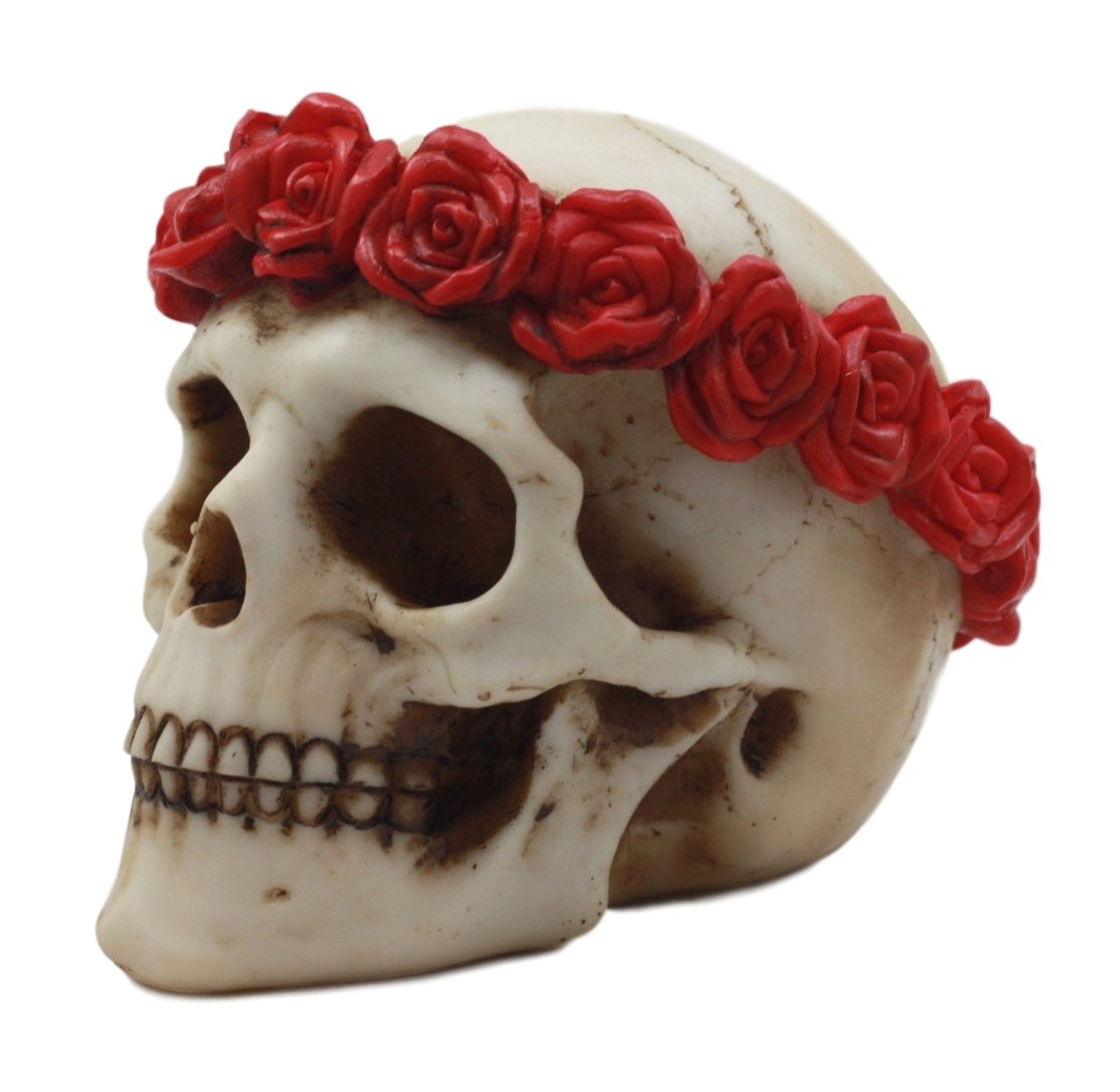Atlantic-Collectibles-Day-of-The-Dead-Red-Rose-Laurel-Flower-Wreath-Sugar-Skull-Figurine-Decor-45L