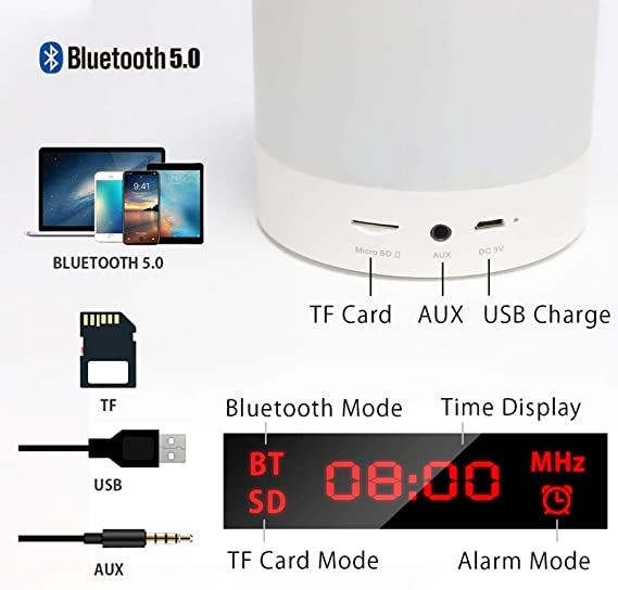 Dimmable 7 Couleurs RGB Lampe de Chevet pour Chambre Enceinte Bluetooth Portable avec Lumi/ère dAmbiance Enfants Meilleurs Cadeaux pour Femmes Smart Touch Sensor Veilleuse avec R/éveil Radio FM