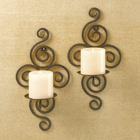 premium selection 1978a 05438 Swirl Wrought Iron Candle Sconce Pair