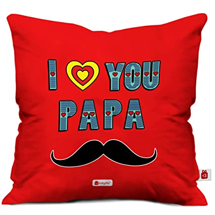 Indigifts Papa Gift Anniversary I Love You Quote Print Cushion Cover 16x16 Inches Red