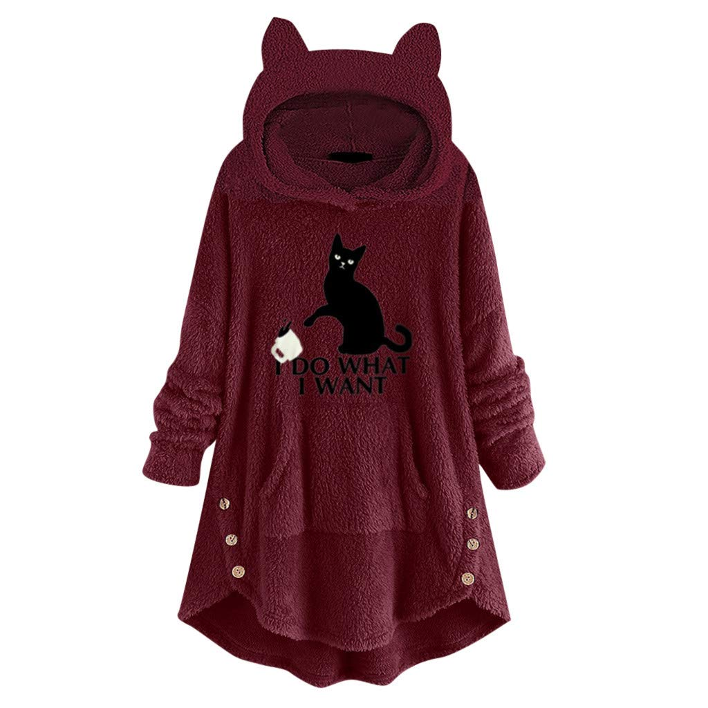 Lataw Women Hooded Sweatshirt Leisure Fleece Embroidery Cute Cat Ears Button Hem Plus Size Top Sweater Blouse Tunics by Lataw