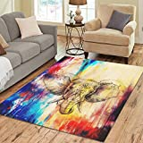 Cheap InterestPrint Animal Elephant with Floral Area Rugs Carpet 7 x 5 Feet, Pencil Drawing Art Modern Carpet Floor Rugs Mat for Children Kids Home Living Dining Room Playroom Decoration