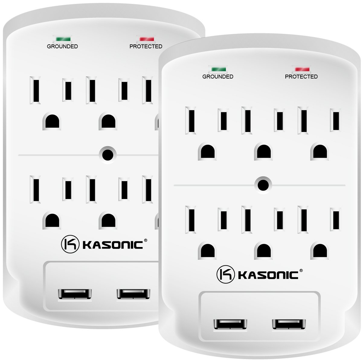 Wall-Mount Power Outlet, Kasonic 6 AC Socket Surge Protector with 2.1Amp Dual USB Charging Station; Grounding and Protection Indicator for Home, Office ETL Certified (2 Pack) by Kasonic