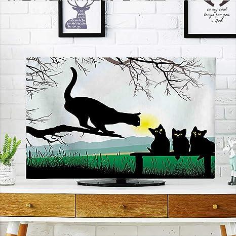 Auraisehome - Tinta de Dibujo de Gato Estilo Bohemio para Proteger tu televisor, con Plumas Coloridas, ilustración ES para Proteger tu TV de 48,26 cm de Ancho x 76,2 cm de Alto.: