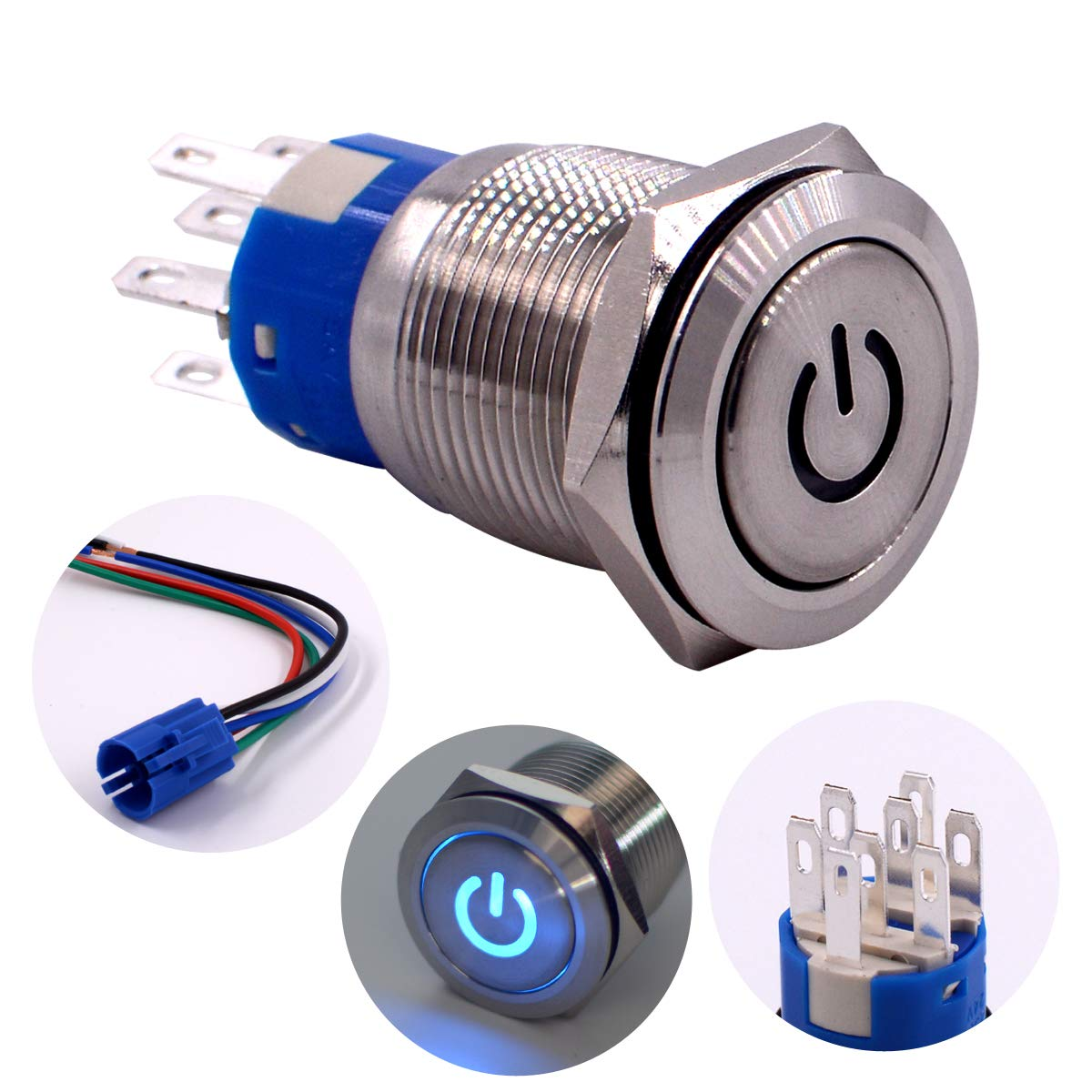 2NO2NC DPDT Stainless Steel with 24V Power Symbol Blue LED for 19mm 3//4 Mounting Hole Include Socket Latching Push Button Switch Blue URTONE UR197