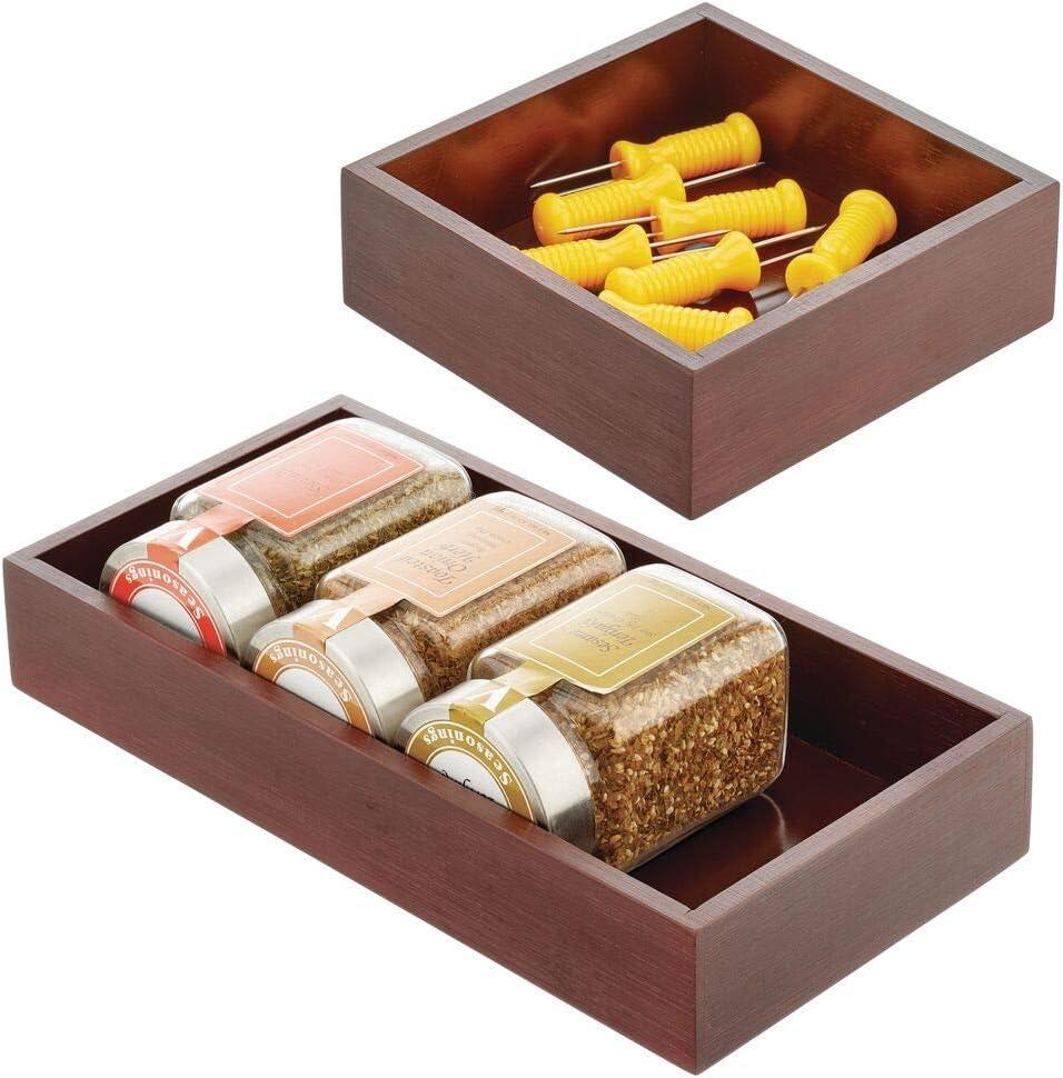 mDesign Juego de 2 cajones de Madera – Cajas de bambú Multiusos para armarios, cajones y Superficies – Cajón de almacenaje Abierto de bambú ecológico en 2 tamaños – marrón Oscuro