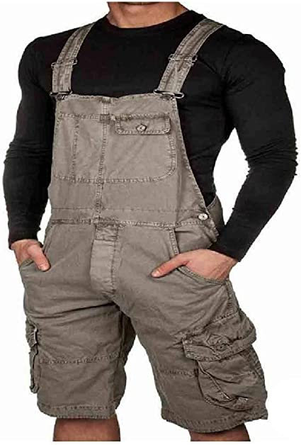 cheelot Men's Plus-size Bib Overall Solid Colored Half Pants with Side Pockets
