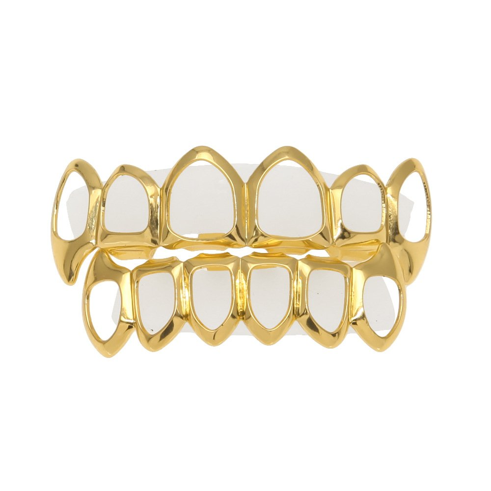 MCSAYS - Set di grillz placcati in oro, stile hip hop, protesi dentali rimovibili in rame, per arcata superiore e inferiore colore: Gold cod. SP1001