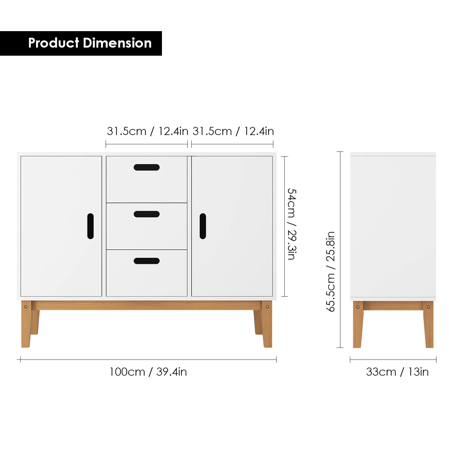 HOMECHO Floor Buffet Sideboard Storage Cabinet Freestanding Console Table Cupboard Chest 2 Door, 3 Drawers and 2 Inside Adjustment Shelf for Hallway, Living Room and Kitchen White Color HMC-MD-004 by HOMECHO (Image #2)