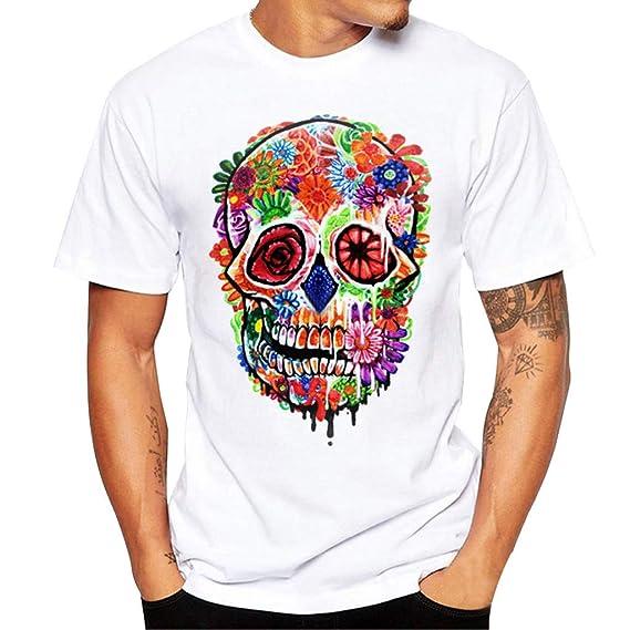 Camiseta de Hombre Cebbay Manga Corta Imprimiendo Cuello Redondo Unisex ( Blanco 3104b6ab1c6
