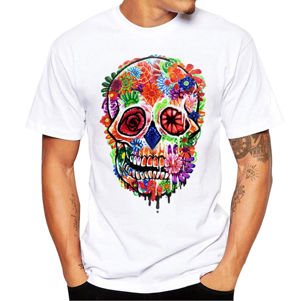 Willsa Mens Shirts, Unisex Solid Color Colorful Skull Printing Tees Shirt Short Sleeve Casual Couples Tops Blouse White