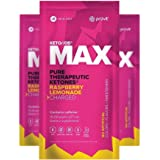 KETO//OS MAX Raspberry Lemonade CHARGED N8tive Series - BHB Beta Hydroxybutyrates Exogenous Ketones Supplements for Fat Loss, Workout Energy Boost and Weight Management through Fast Ketosis, 3 Sachets