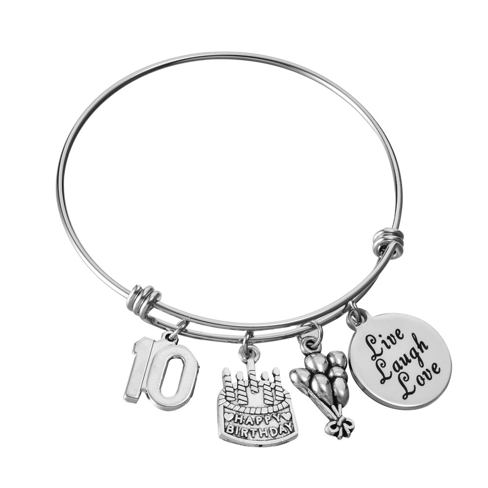 Miss Pink 10th Birthday Gifts for Girls Expandable Wire Bangle Ten Year Old Charm Bracelet