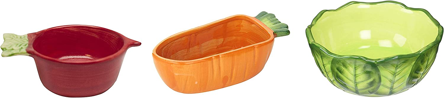Kaytee Vege-T-Bowl Variety Pack, Radish Cabbage and Carrot, Food and Water Bowls for Small Pets