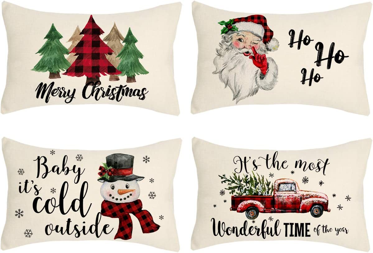 Christmas Pillow Covers 12x20 Set of 4 Farmhouse Christmas Decor Red Black Buffalo Plaids Winter Holiday Decorations Throw Cushion Case for Home Couch(Tree, Rustic Truck, Santa Claus, Snowman Quote)