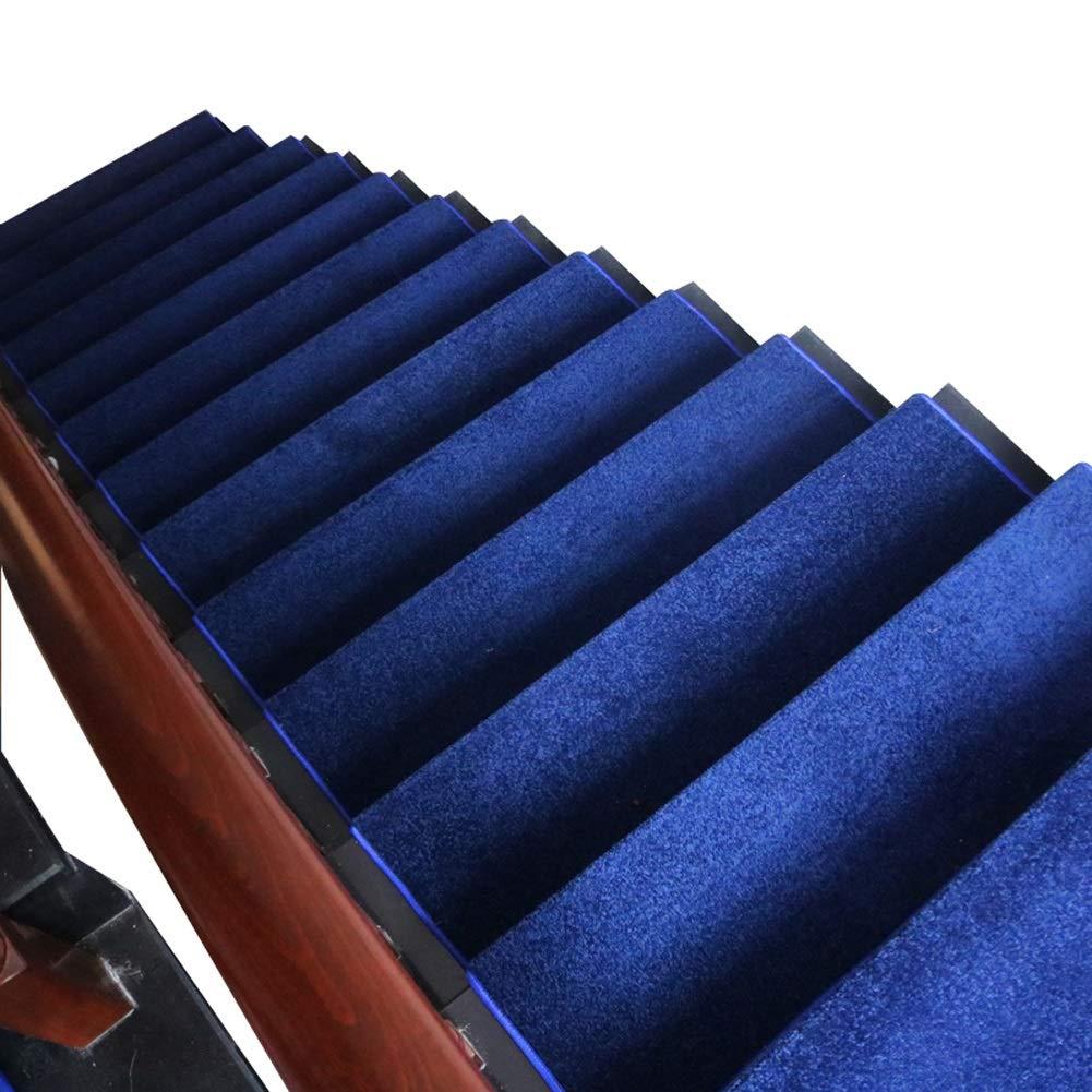 カーペット 青いステップカーペット屋内滑り止め洗えるシングルピースラグ階段トレッド、ドラゴン骨折側とマジックバックル底階段マット (色 : Set of 13, サイズ さいず : 100×24+3cm) 100×24+3cm Set of 13 B07MXTR28W
