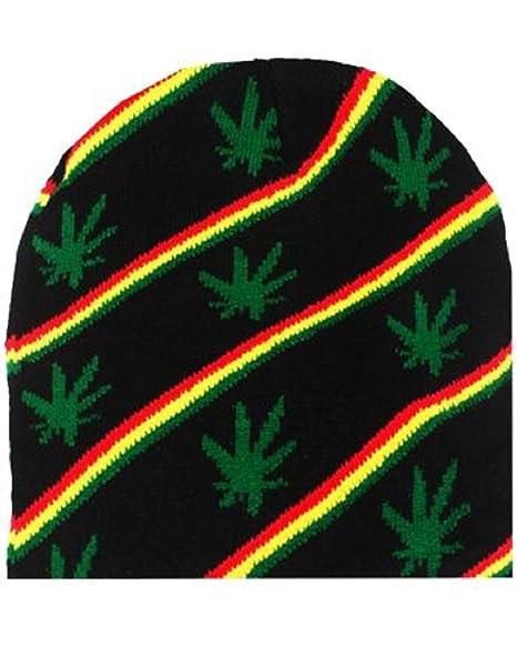Green Black Rasta Stripe Leaf Pot Marijuana Weed Hemp 420 Beanie