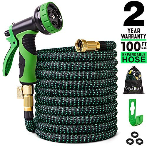 100 ft Expandable Garden Hose,Lightweight Garden Water Hose with 3/4 inch Solid Brass Fittings,Durable Outdoor Gardening Flexible Hose for Yard,Expanding Garden Hoses 9 Function Spray Nozzle by Greness