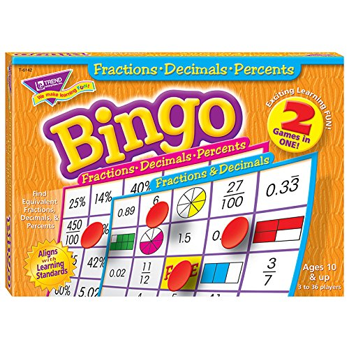 Trend Enterprises Fractions Decimals & Percents Bingo