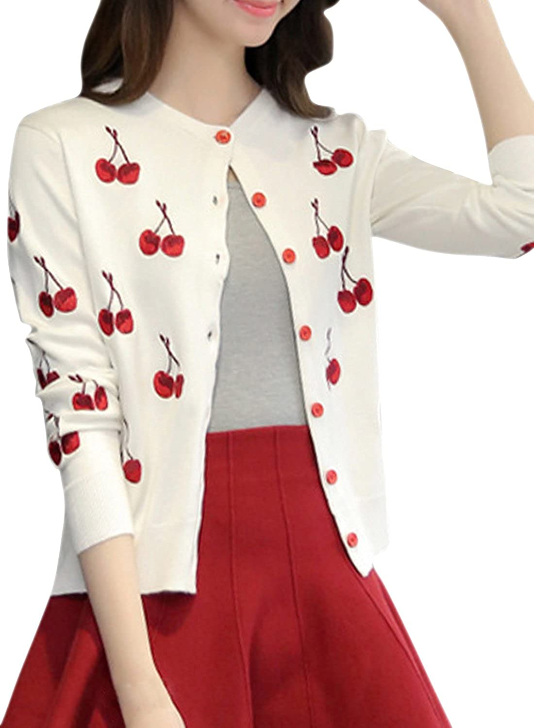 ACHICGIRL Women's Cherry Graphic Button Down Knit Cardigan