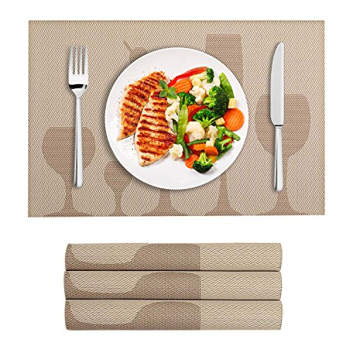 VEEYOO Place Mats Woven Vinyl Non-Slip Insulation Stain Resistant Washable Wine Glasses Pattern Table Placemats Kitchen Dining Table Meal Mat, Set of 4, Champagne