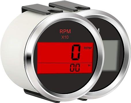 White 52mm Electrical Hour Meter Gauge Waterproof for Boat Marine Car RV