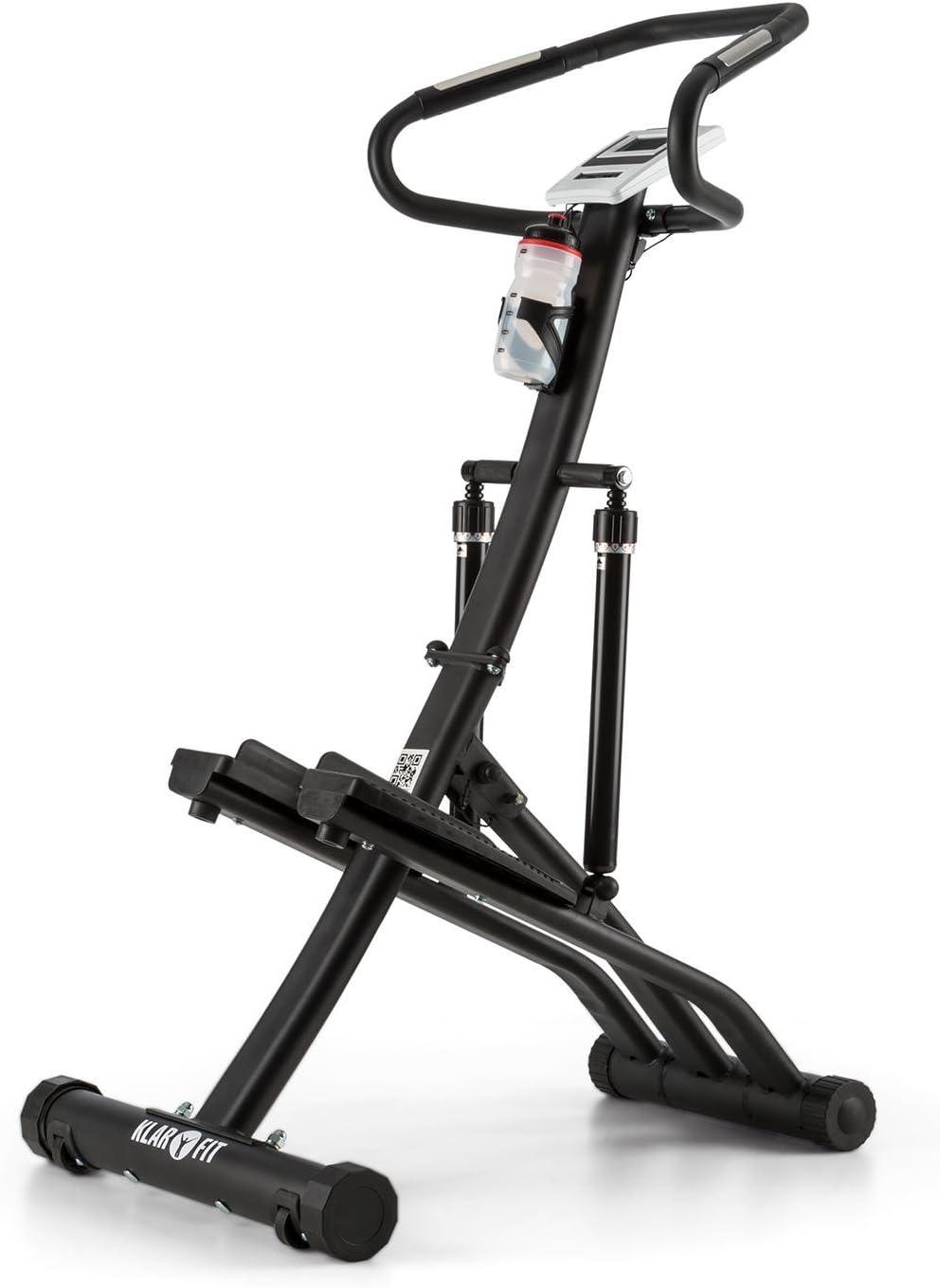 Klarfit Treppo Power Stepper Máquina de Step estática Plegable (Sensor de pulsaciones, Ordenador de Entrenamiento, Ajustable, Entrenar en casa) - Negra