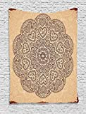 asddcdfdd Beige Decor Tapestry, Ethnic Heart And Tulip Motifs Antique Floral Oriental Asian Vintage Styled Boho Chic, Bedroom Living Room Dorm Decor, 40 W x 60 L Inches, Chocolate Beige