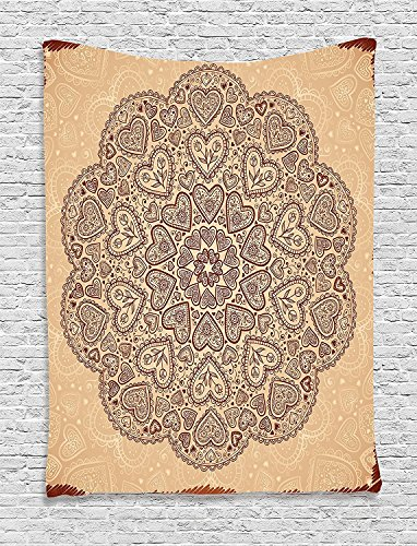 asddcdfdd Beige Decor Tapestry, Ethnic Heart And Tulip Motifs Antique Floral Oriental Asian Vintage Styled Boho Chic, Bedroom Living Room Dorm Decor, 40 W x 60 L Inches, Chocolate Beige by asddcdfdd