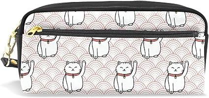 Estuche escolar con diseño de gatos de la suerte con fondo rosa de ondas japonesas para niños, de gran capacidad, para maquillaje, cosméticos o oficina, bolsa de viaje: Amazon.es: Oficina y papelería