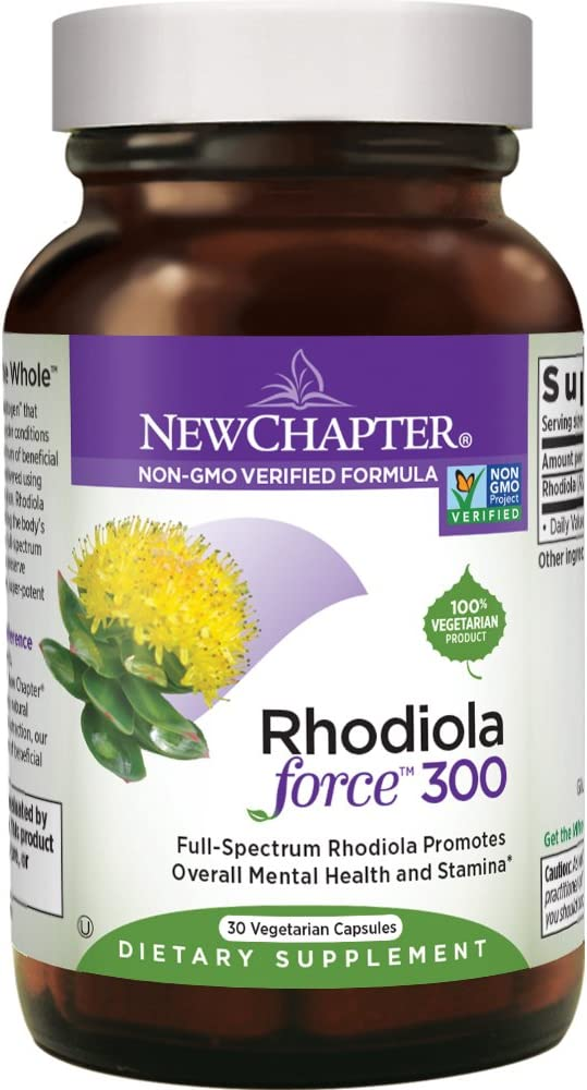 New Chapter Rhodiola Force 300mg with Potent Rhodiola for Endurance Mood Support Stress Adaptogen Non-GMO Ingredients – 30 ct Vegetarian Capsules