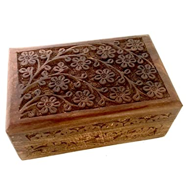 New Age Imports, Inc. Gift Ideas~ Floral Carved Handmade Wooden Box 4 inches by 6 inches~Ideal for Storing Jewelry, Coins, Tartot Cards, Small Treasures, URN Box & etc (Floral Carved 4 x6 )