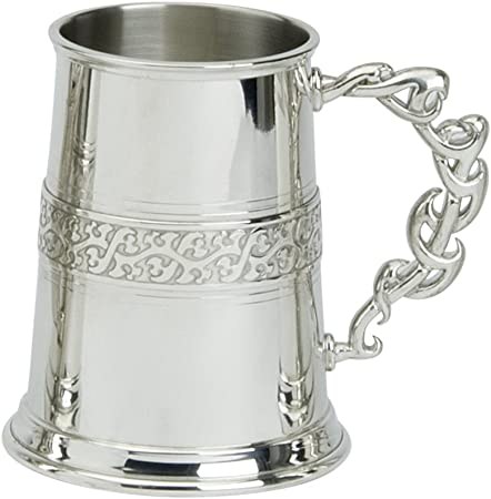 Edwin Flasque /& Co Style Tribal Celtique 1/Pinte chope avec Base en m/étal Massif/ /Tribu d/écor/é sur Le Corps m/étallique avec poign/ée en /étain