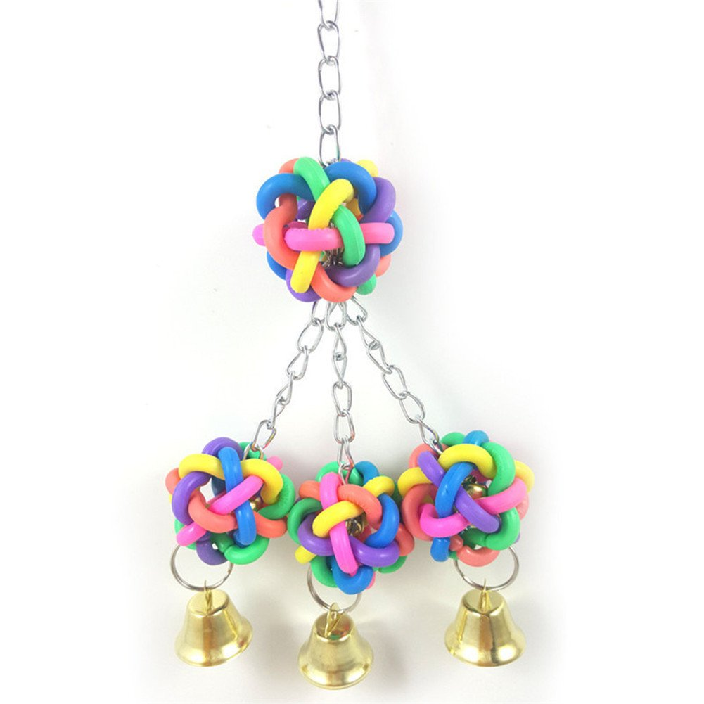 Birds Hanging Toys Colorful Plastic Hand Grabbing Balls With Bells for Climbing Biting Chewing jannyshop