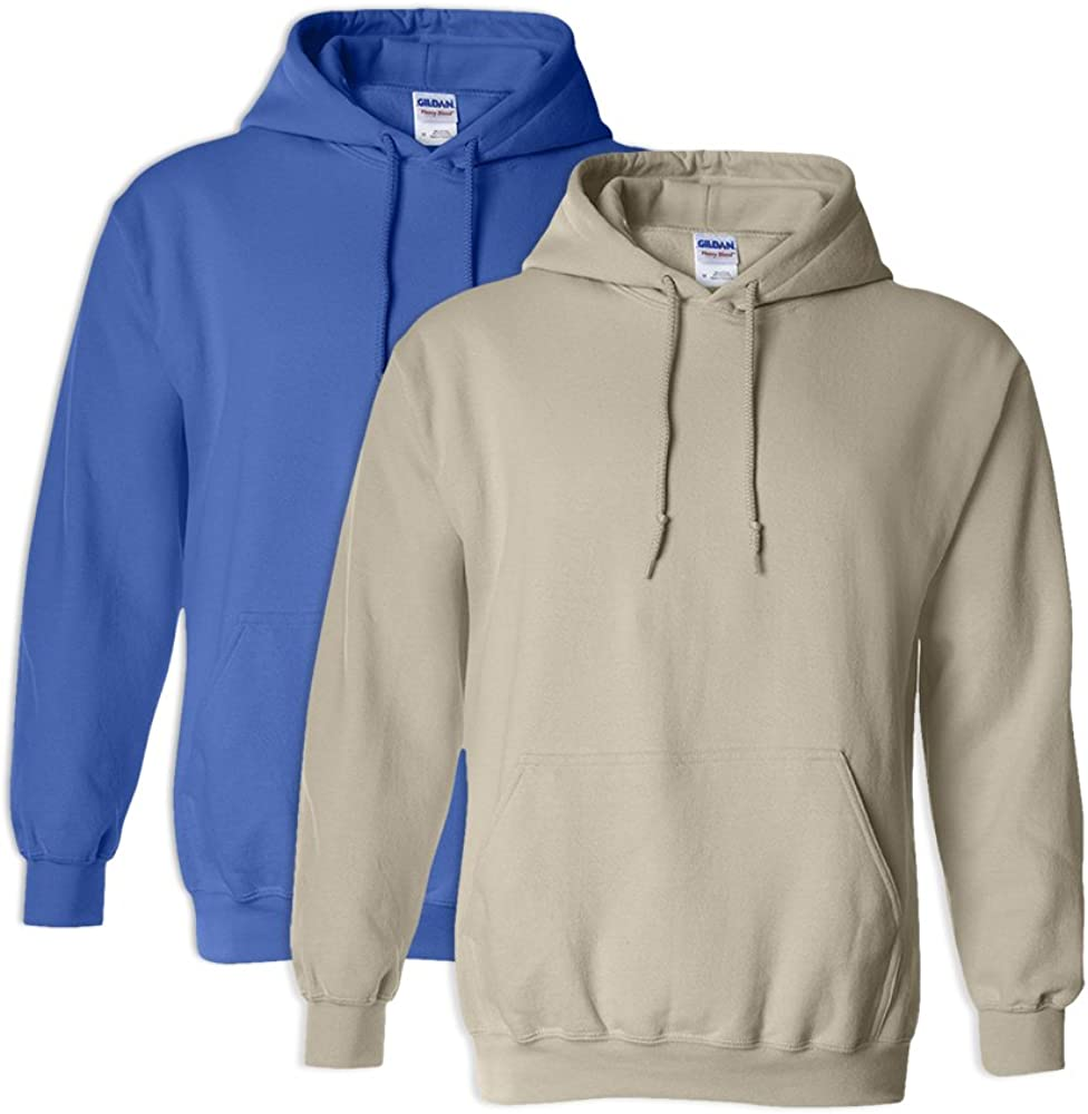 1 Sand Gildan G18500 Heavy Blend Adult Unisex Hooded Sweatshirt S 1 Royal