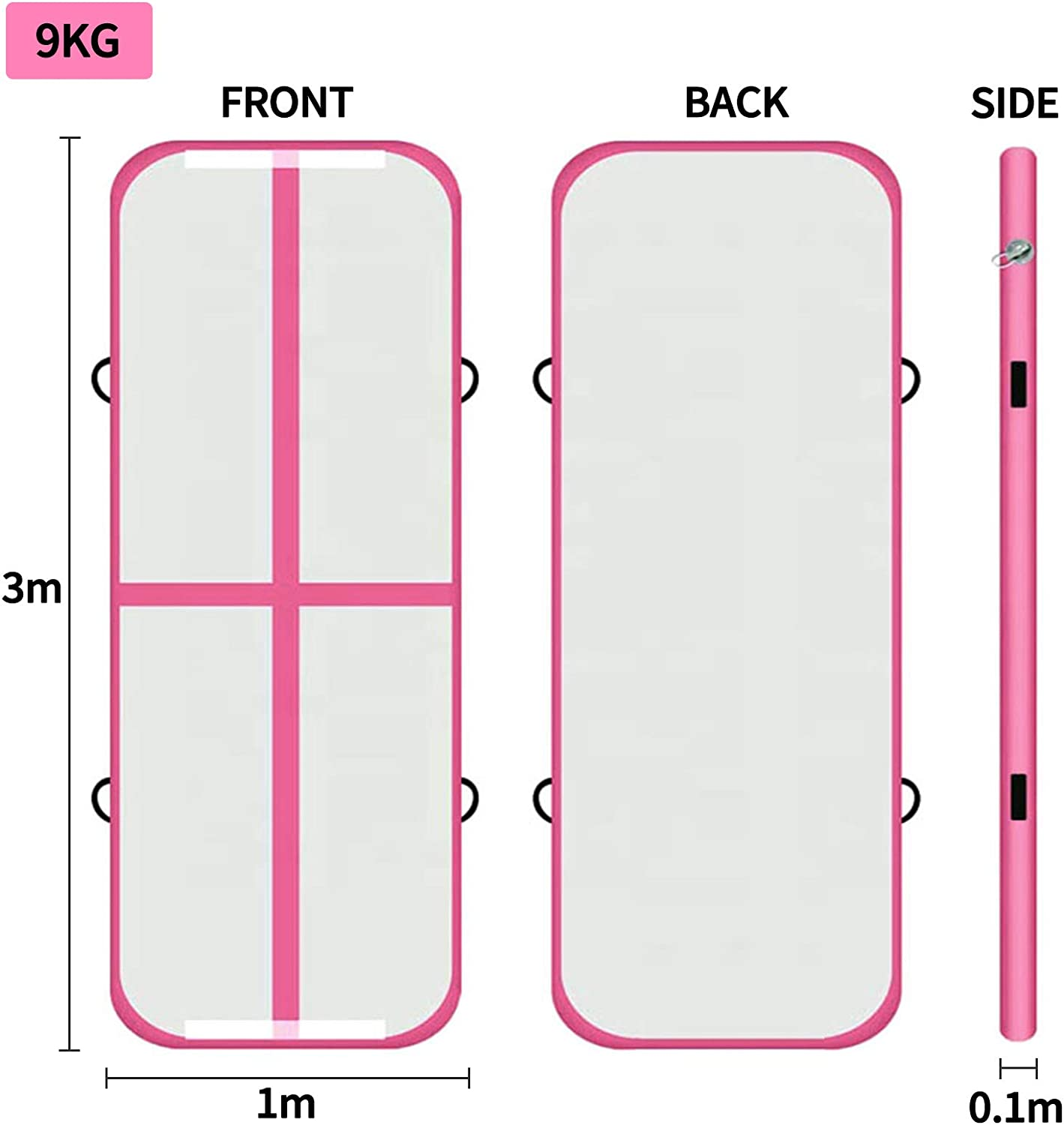 Gymnastics Training Mats 1*3*0.1m pink, 3.3ft*10ft*4in