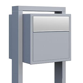 Bravios Briefkasten standbriefkasten design briefkasten grau metallic edelstahl