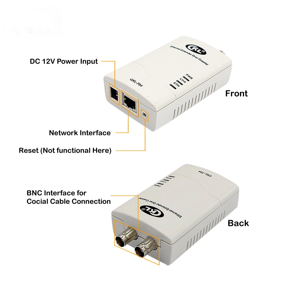 Amazon.com: CKL 3KM Rj45 Internet Network Ethernet Extender, IP Data & CCTV Transmission Over Coaxial or Twisted-Pair Cable CKL-704: Computers & Accessories