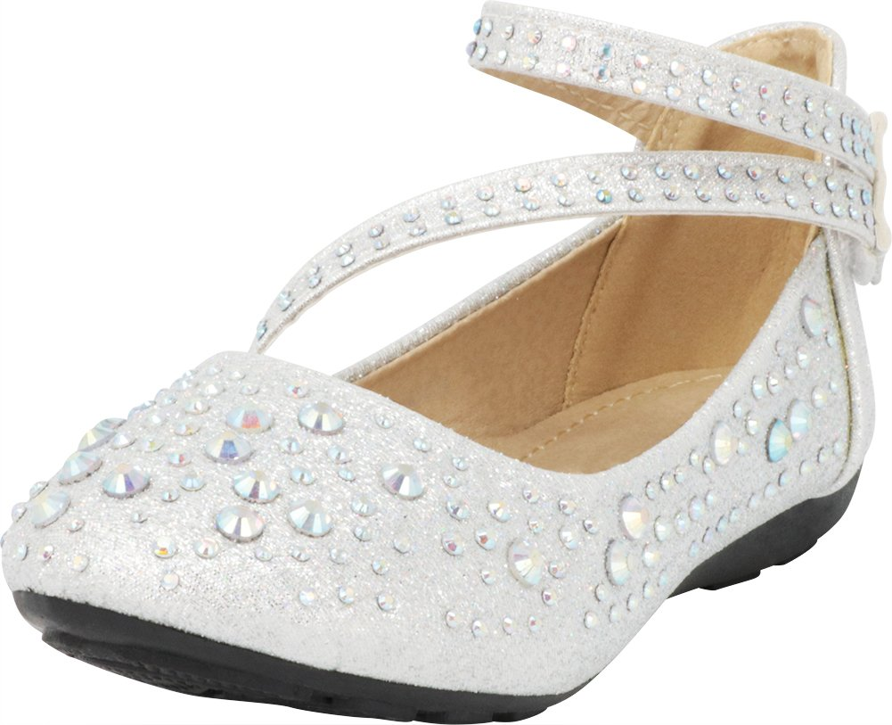 Cambridge Select Girls' Closed Round Toe Crossover Strappy Crystal Rhinestone Ballet Flat (Toddler/Little Kid/Big Kid),1 M US Little Kid,Silver