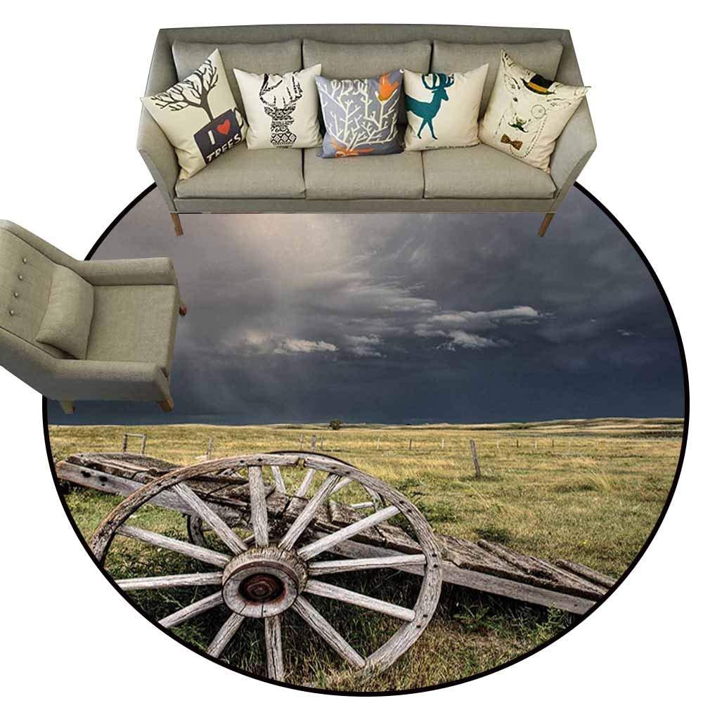 color05 5.2\ Flag Anti-Slip Round Doormats,Barn Wood Wagon Wheel,Cloudy Day in Village Farm Aged Vintage Cart Outdoors,Umber Green Dark bluee,Office Soft Carpet Floor Mat5.2 feet
