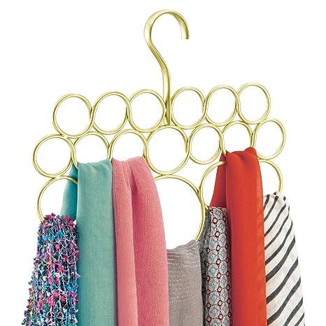 mDesign Percha para pañuelos - Organizador de pañuelos, chales, bufandas y más - Organizador de armarios para accesorios con 18 prácticos aros - Color: ...