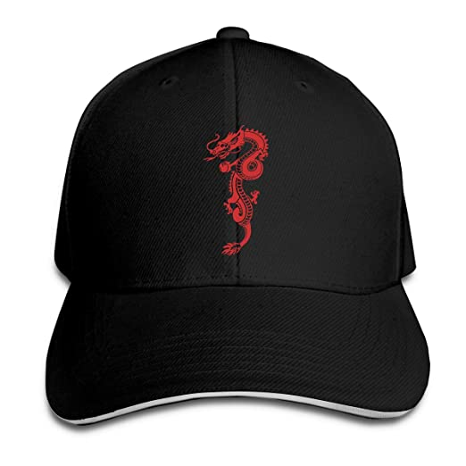 d7ab9cd78b2 Amazon.com  Unisex Adult Red Dragon Peaked Sandwich Baseball Cap Hat ...