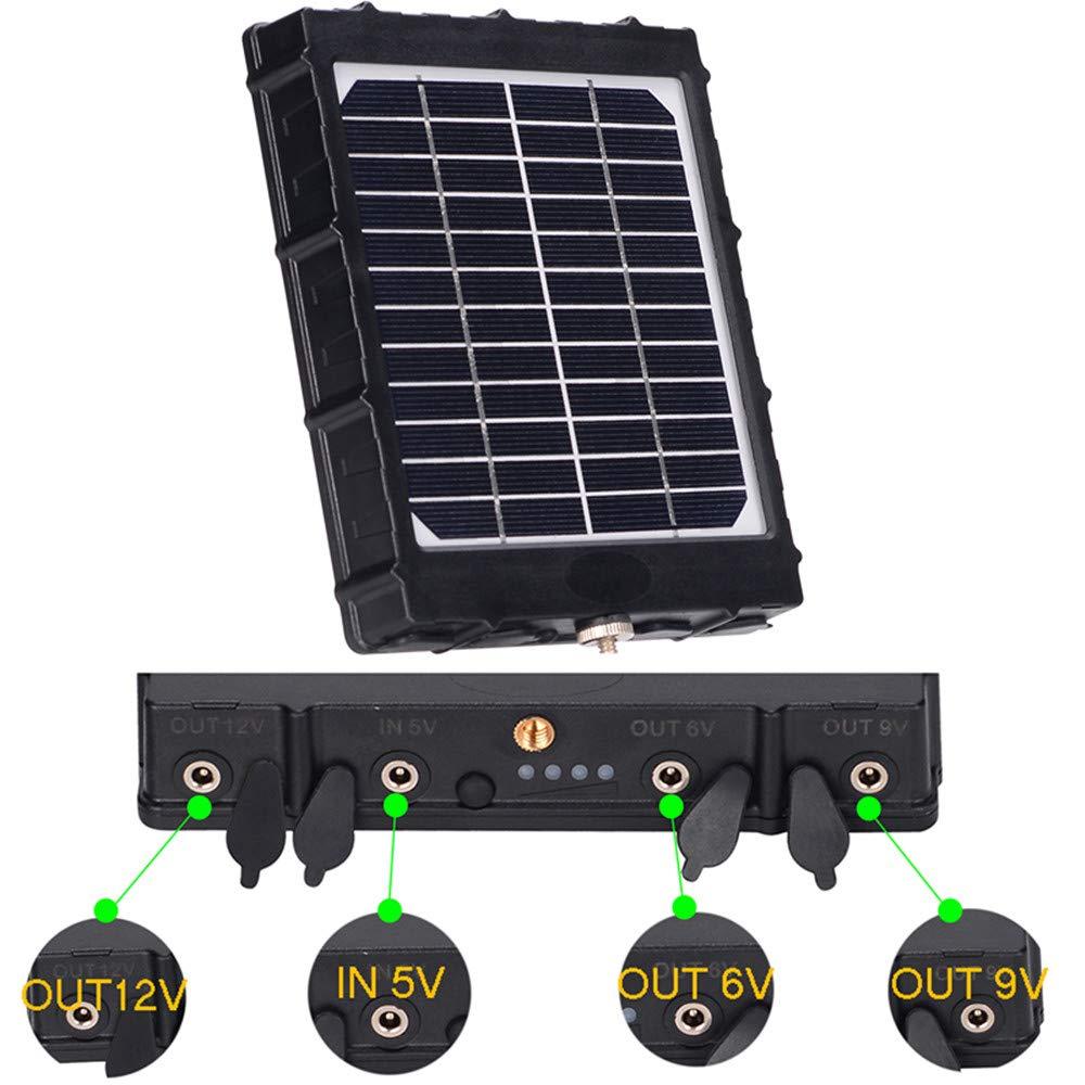 8000 mAh 2,4 A 6 V 12 V BOBLOV Panel solar para c/ámara de sendero 3 W 1,6 A 9 V compatible con 3 voltajes cargador impermeable para todas las c/ámaras de caza IP54 1,2 A