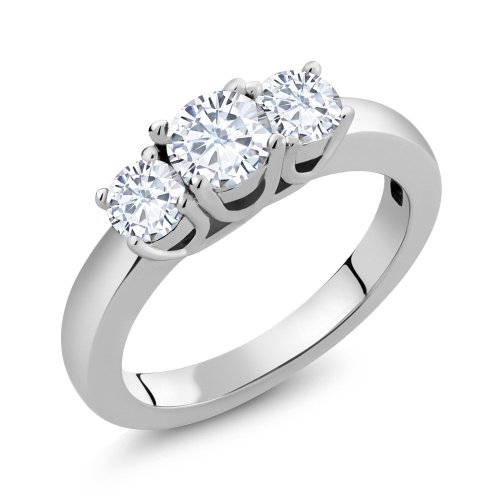0.94 Ct Round White Created Moissanite 925 Sterling Silver 3-Stone Women's Ring (Ring Size 7)
